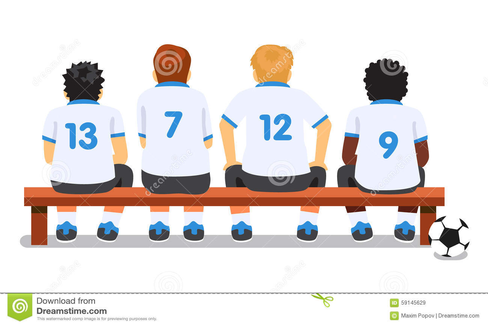 Football Soccer Sport Team Sitting On A Bench Stock Vector ...