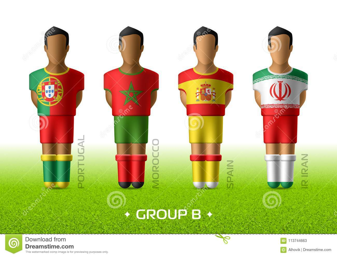 840229d6a Football   soccer team players in the uniform of national flags for  football championship in Russia 2018. Group B with footballers of Portugal