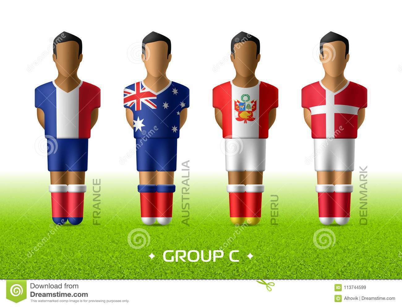 5da6e78c2f75f Football / soccer team players in the uniform of national flags for football  championship in Russia 2018. Group C with footballers of France, Australia,  ...