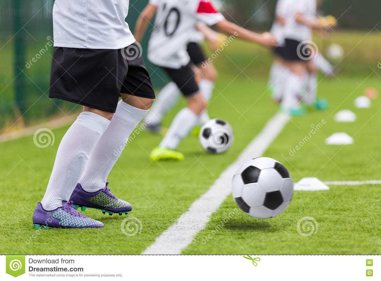 Football soccer training for youth teams. Young footballers