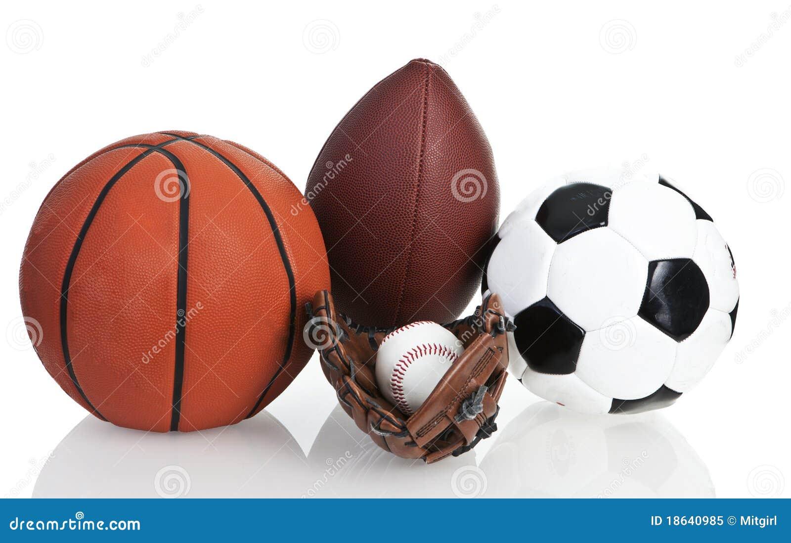 Color Sport Background Football Basketball Hockey Stock: Football, Soccerball, Baseball And Basketball Royalty Free
