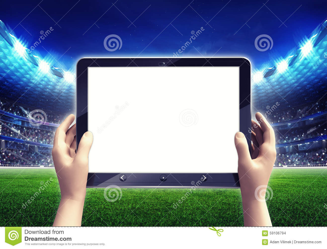 Football Stadium With Empty White Tablet Computer Frame Stock ...
