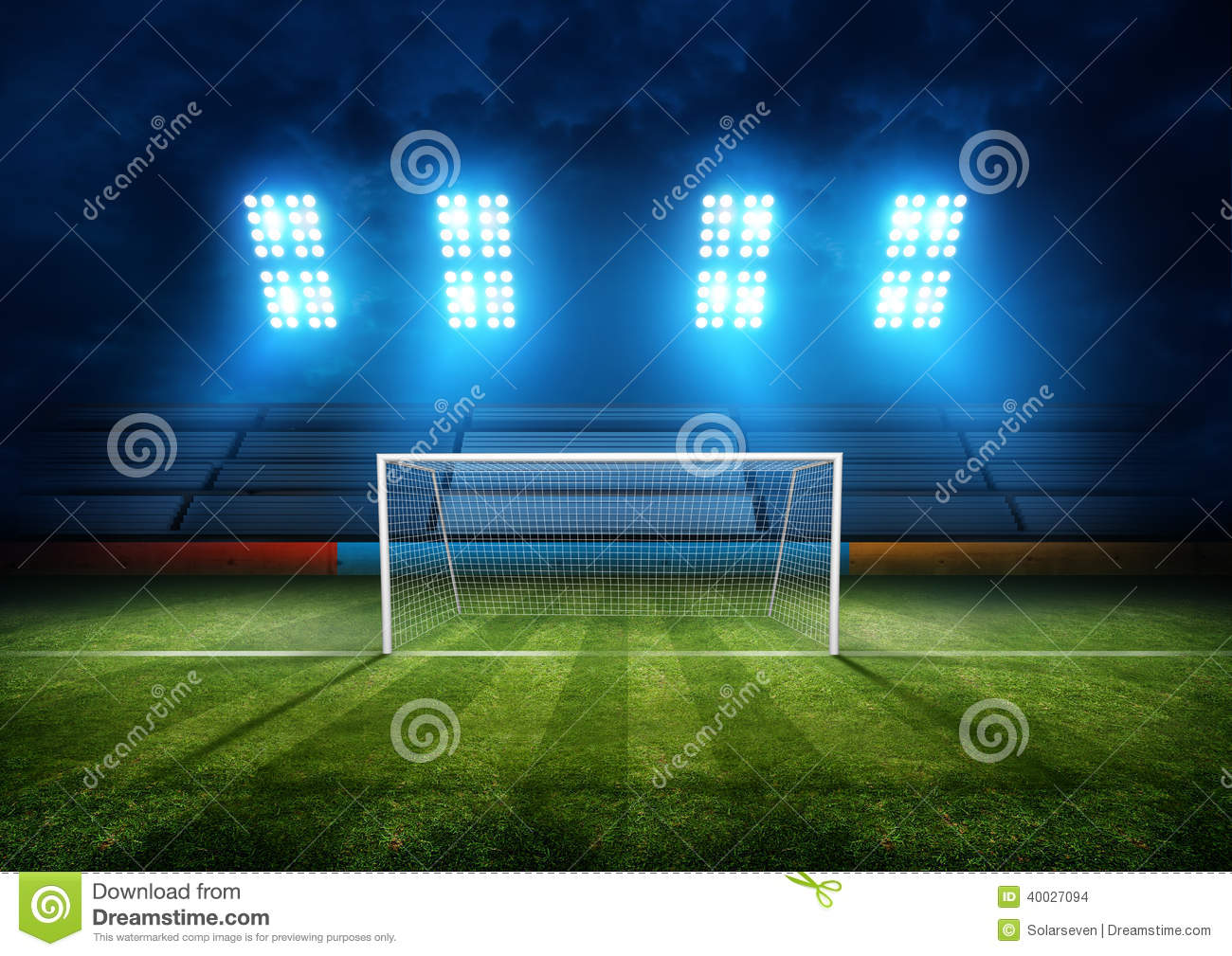 Football Field & Stadium Lights. Background illustration.