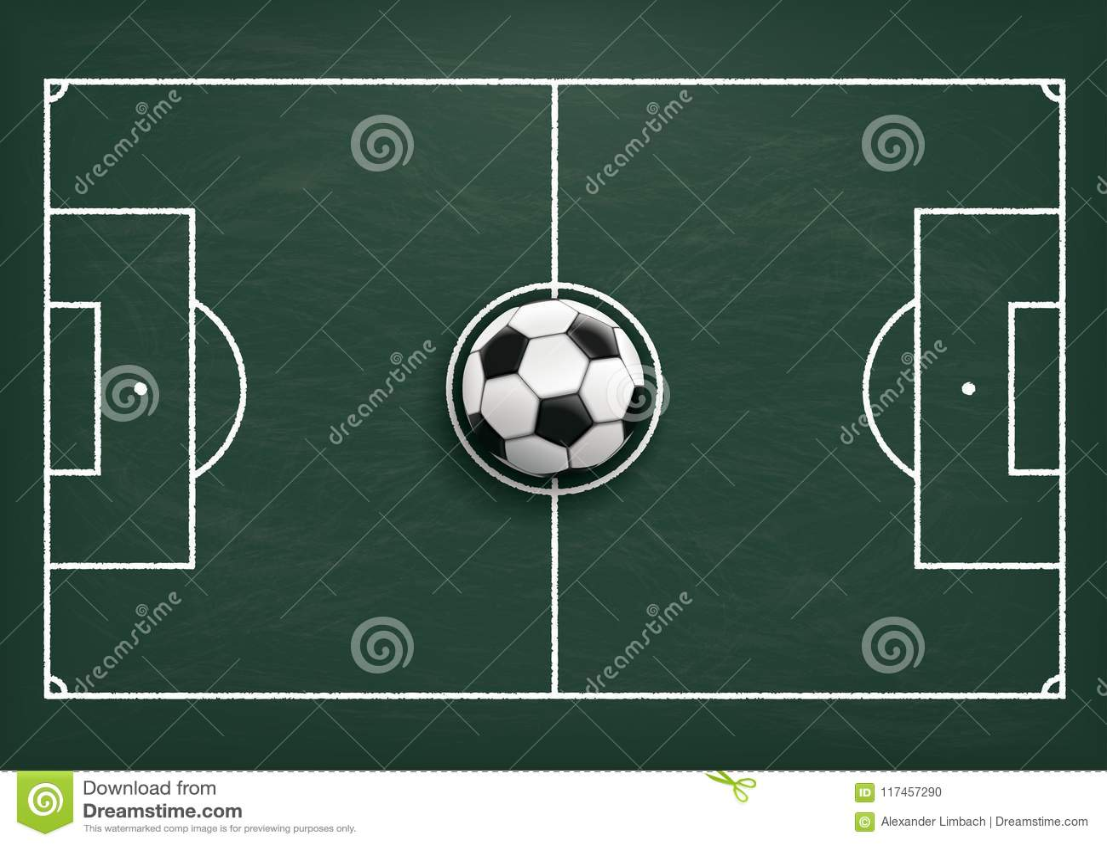 Football Tactics Ground Green Blackboard Stock Vector Illustration