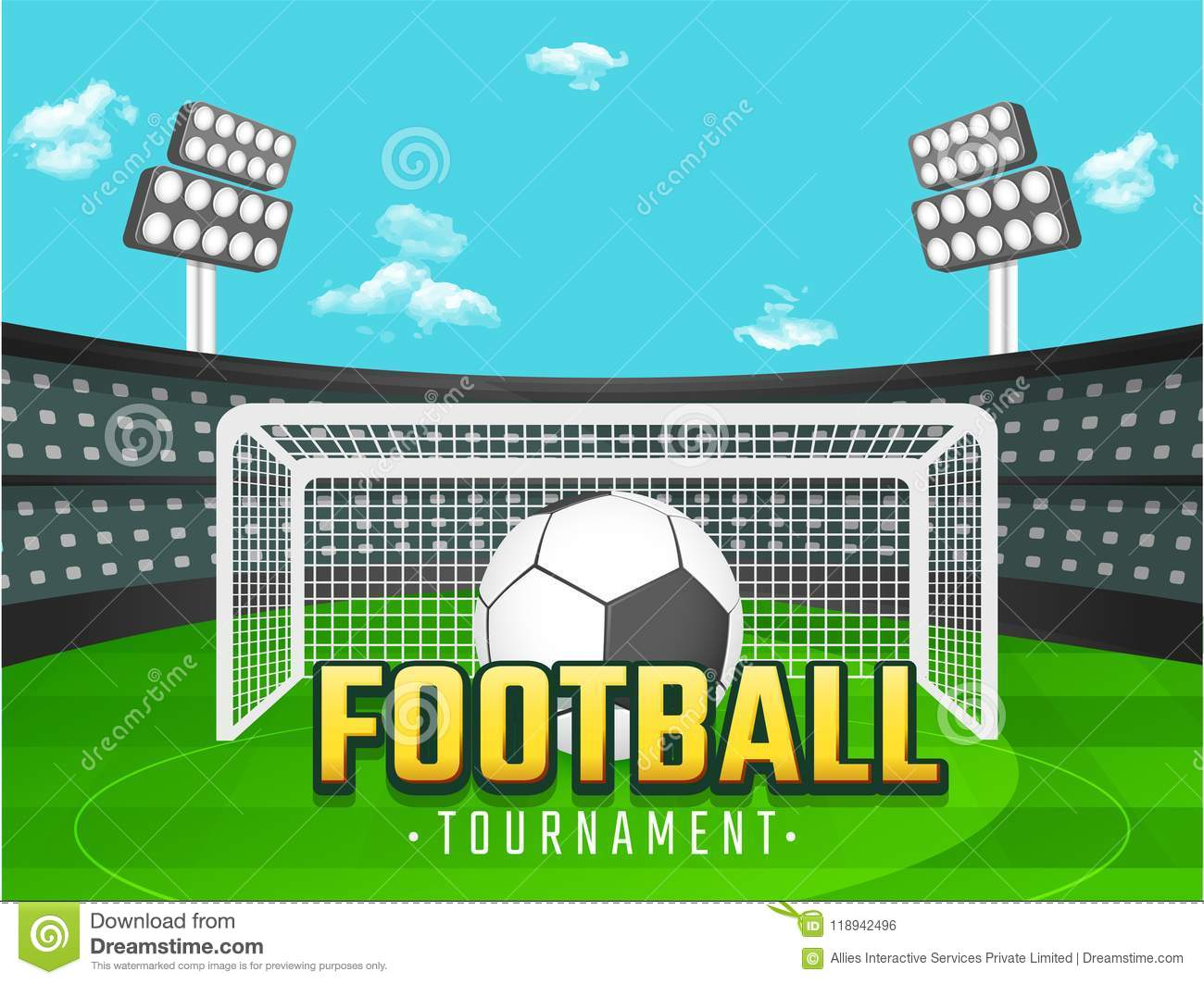 Football Tournament Banner Or Poster Design With Football And Go Stock Illustration Illustration Of Playing Tournament 118942496