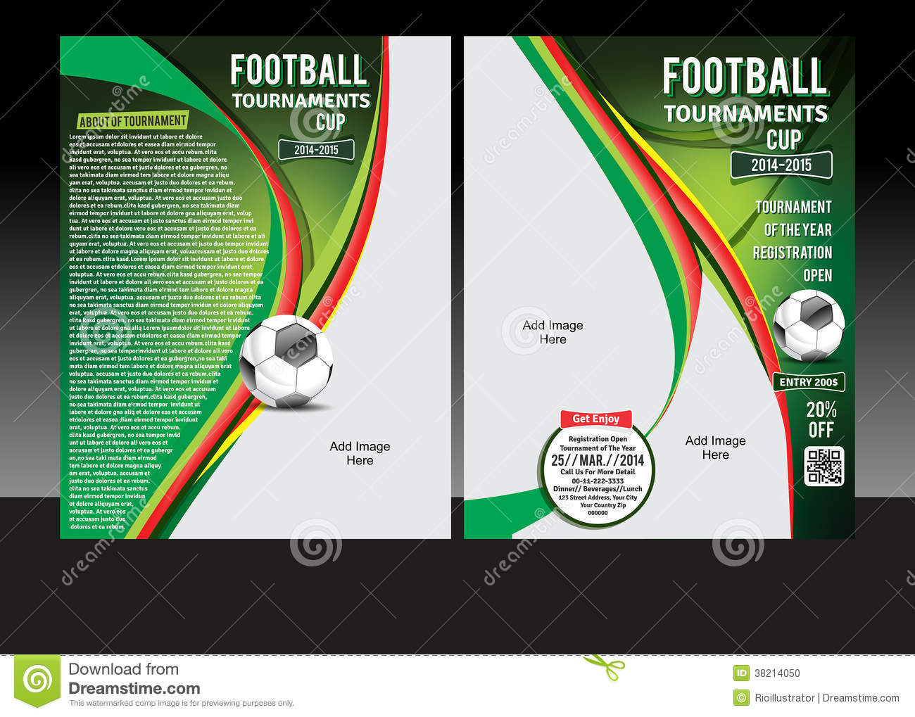 football tournament cup flyer stock photo