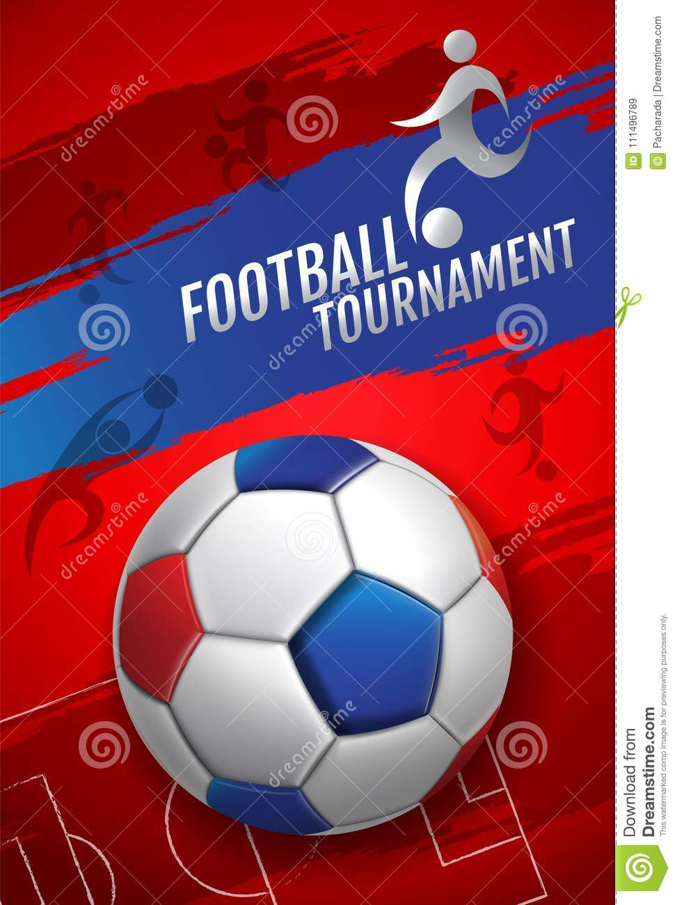 Football Tournament Soccer Cup Design Background Template Vector Illustration Stock Vector Illustration Of Moscow Ball 111496789