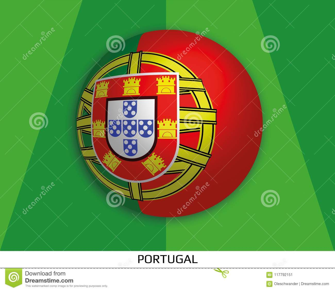 Football World Championship With Flag Of Portugal Made Round As