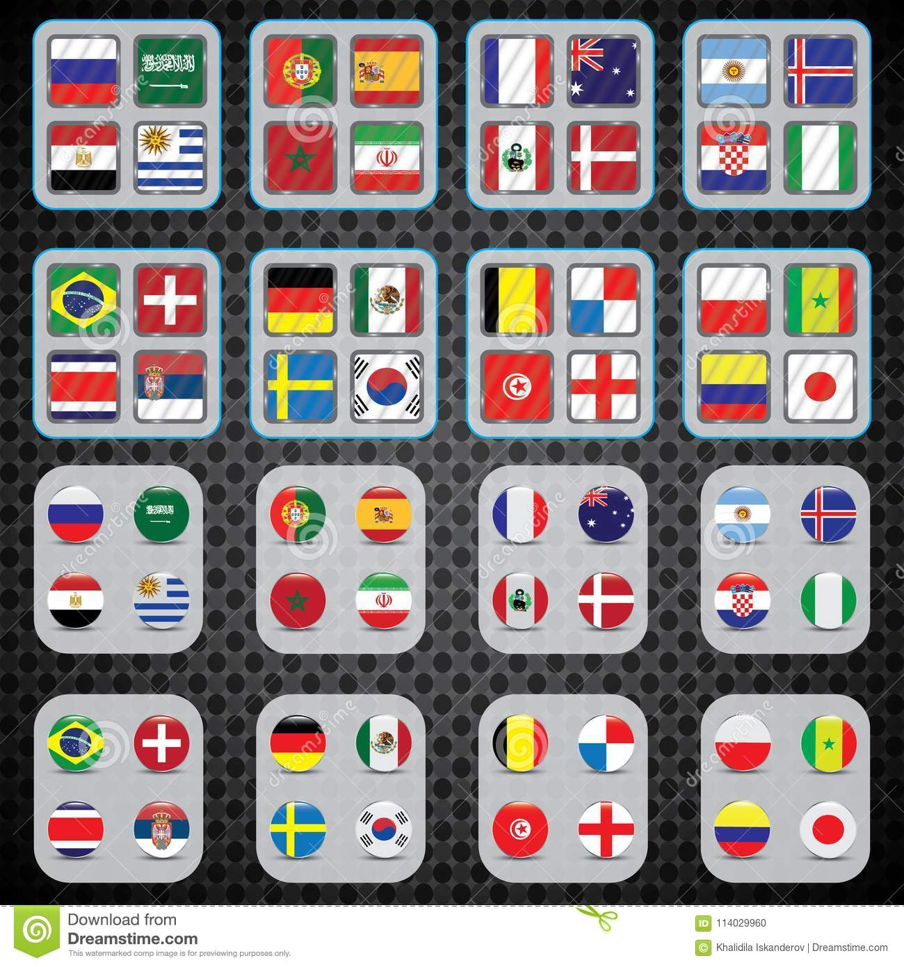 9c52b3c1e Football World championship groups. Vector country flags. 2018 soccer world  tournament in Russia. World football cup. Nations flags info graphic.