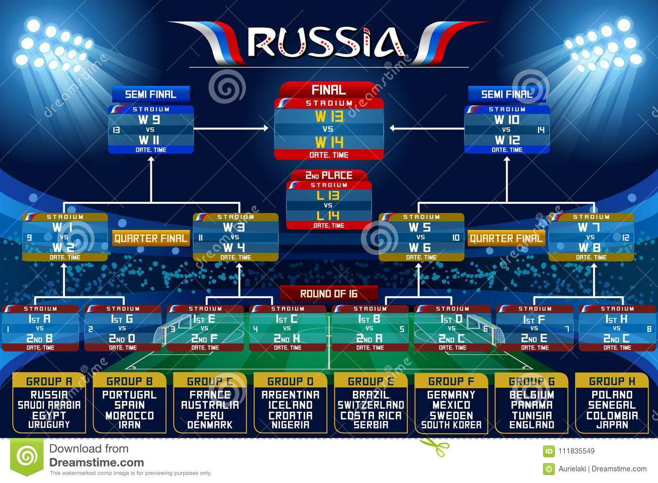 Russia World Cup Schedule Chart Stock Vector Illustration Of Belgium Competition 111835549