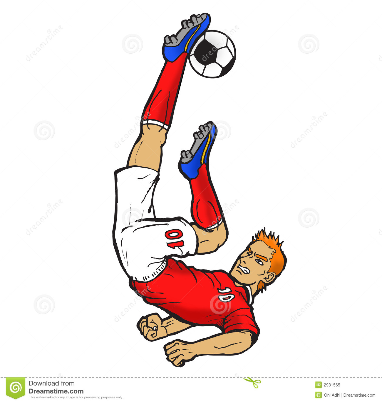 Footballer Doing Bicycle Kick Royalty Free Stock Photo ...