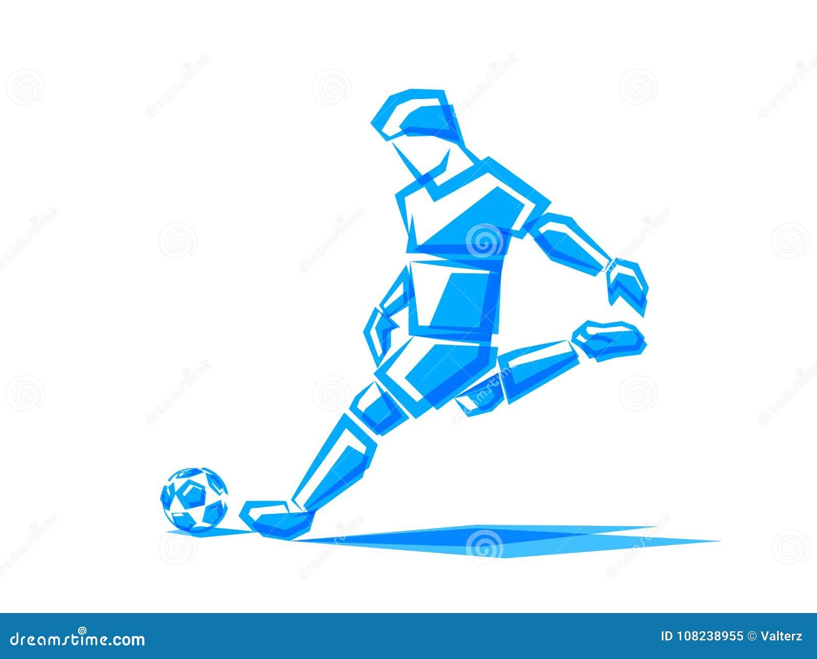 Footballeur d illustration de vecteur de formes polygonales