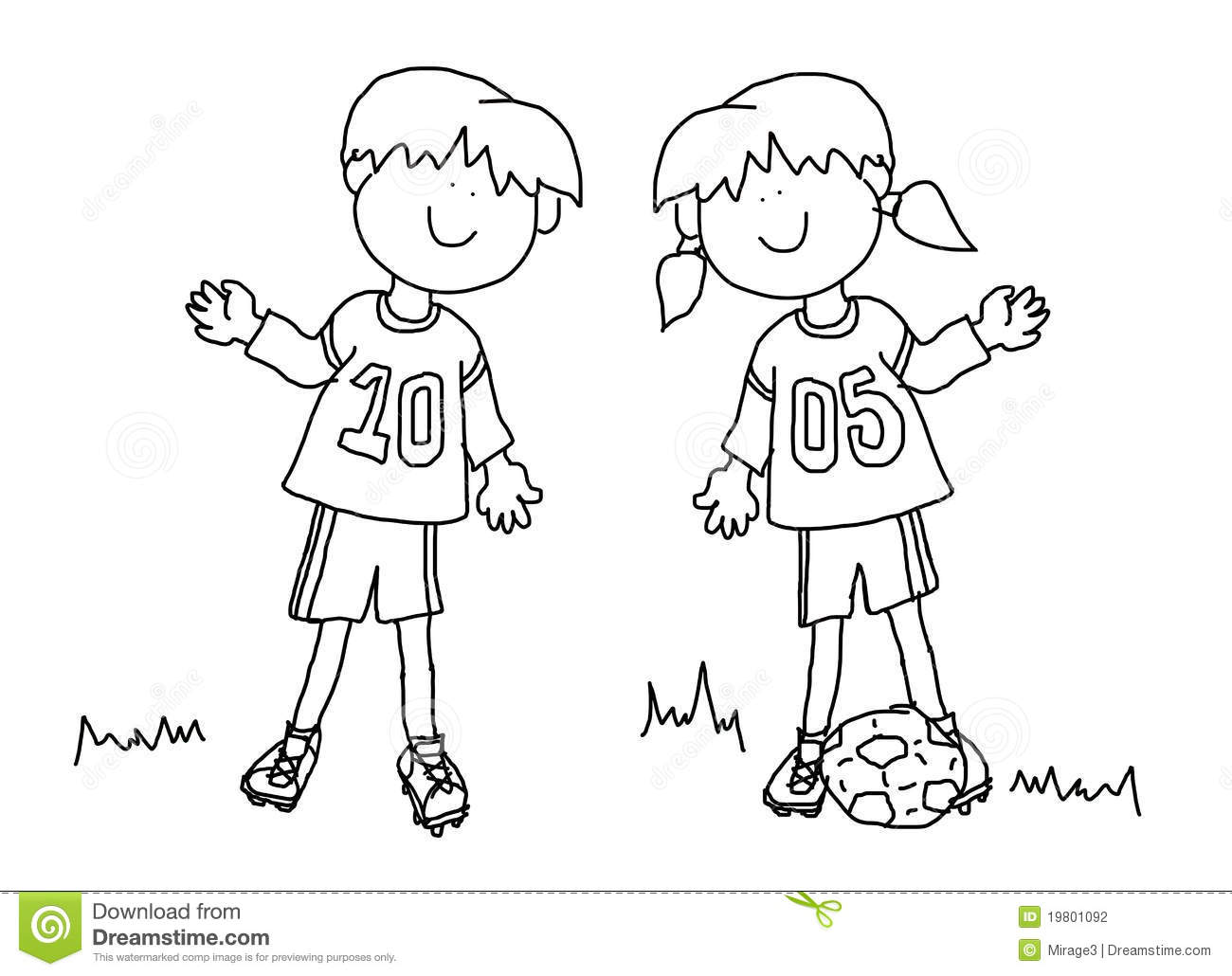 Footballeur de dessin anim de gar on et de fille illustration stock illustration du pi ce - Dessin fille et garcon ...