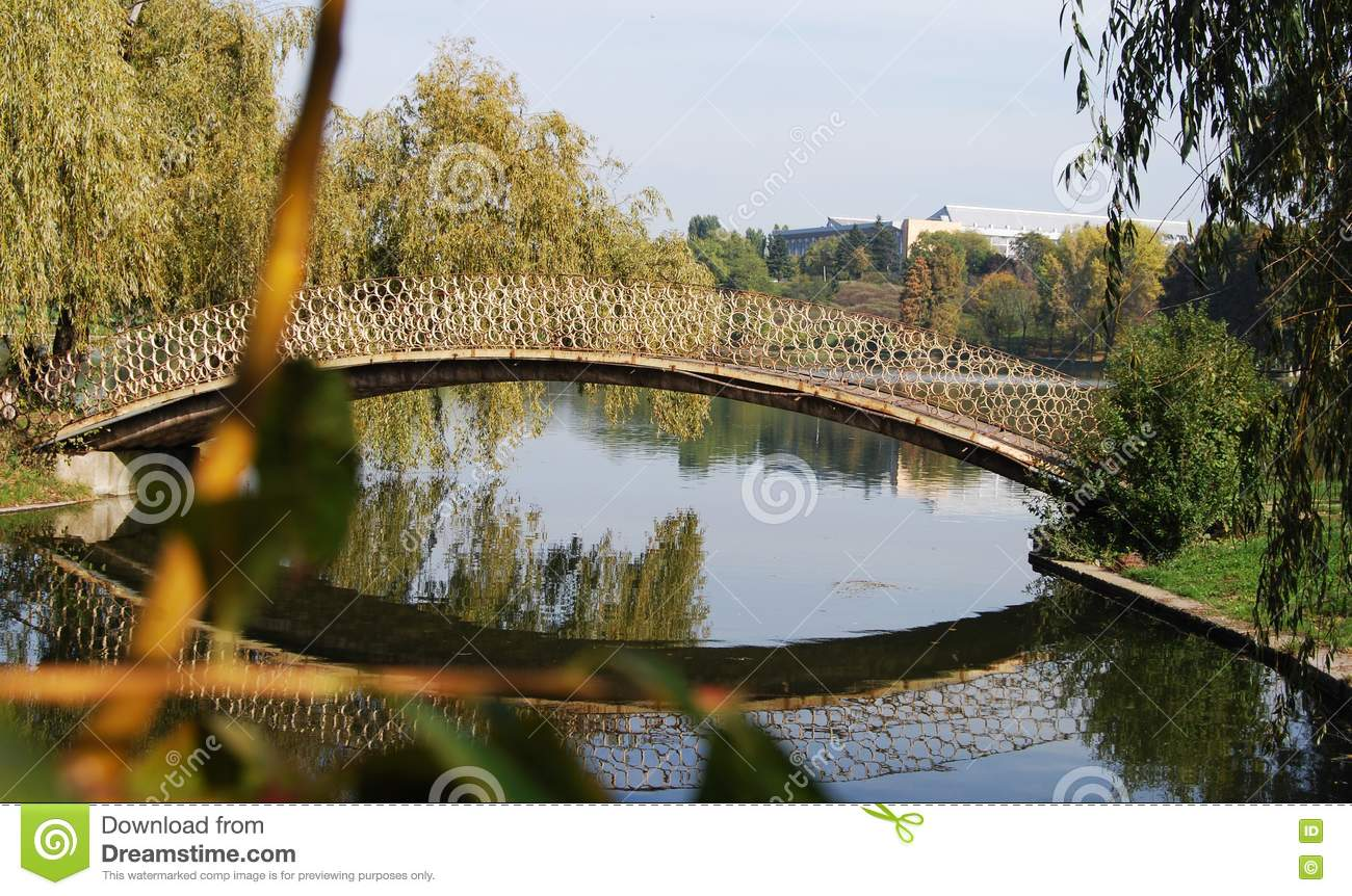 cc0c48a862e Footbridge Over A Pond Picture. Image  18353918