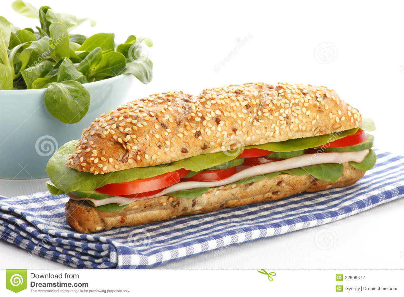 Footlong Ham Sandwich On White Background Stock Photography - Image ...