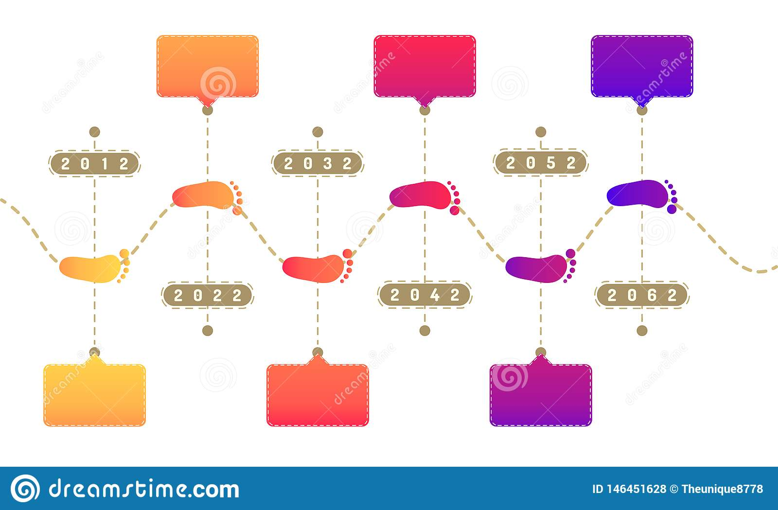 Footprint way roadmap timeline elements with markpoint graph think search gear target icons. vector illustration eps10
