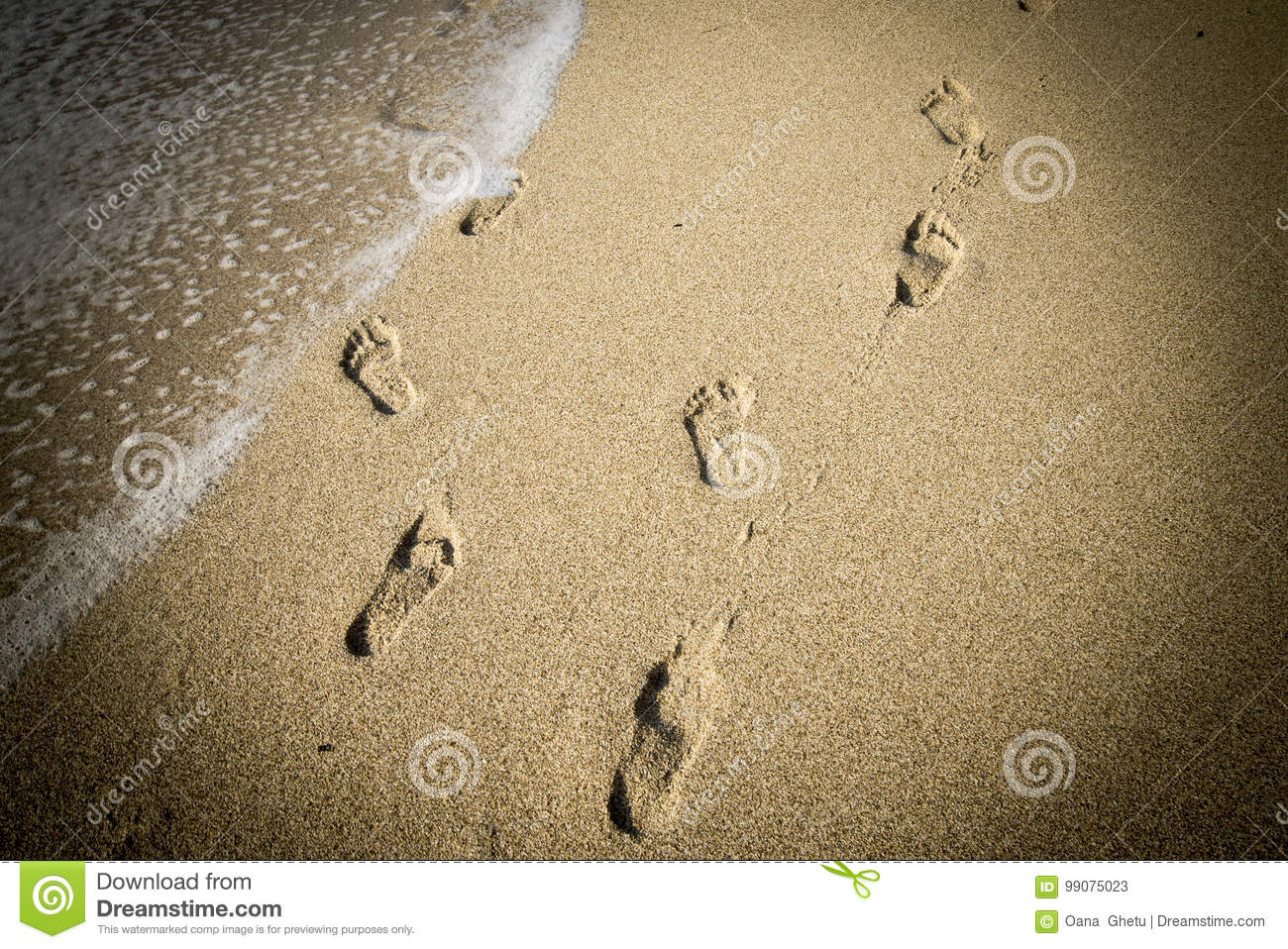 Footprints deep in the sand, optical Illusion