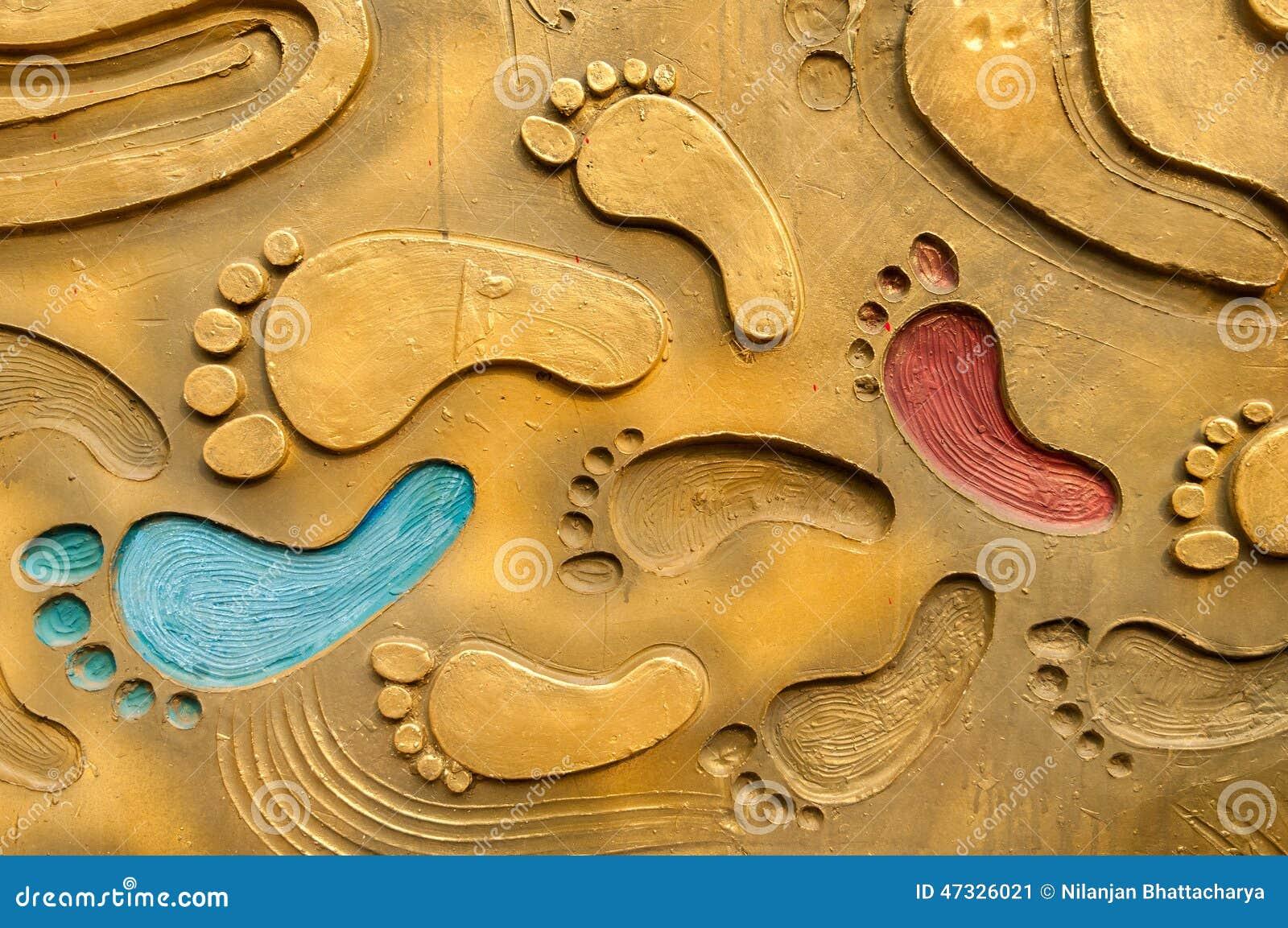 Footprints on metal