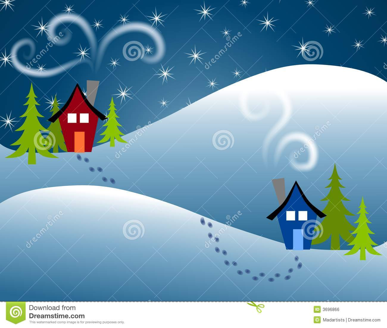 Christmas house with snow art - Royalty Free Stock Photo Download Footprints In Snow House