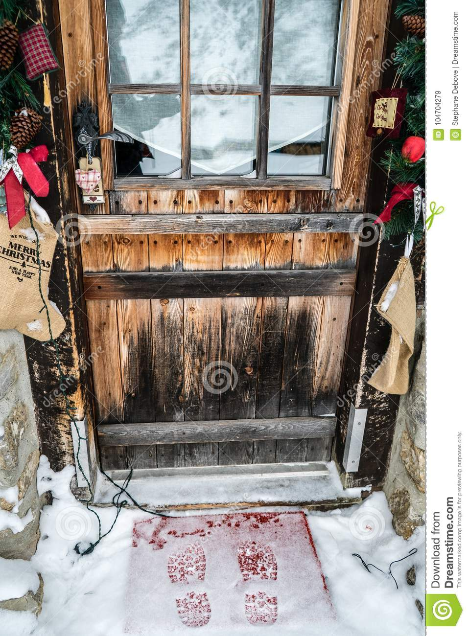 Footsteps In Snow In Front Of A Door Stock Image Image Of House