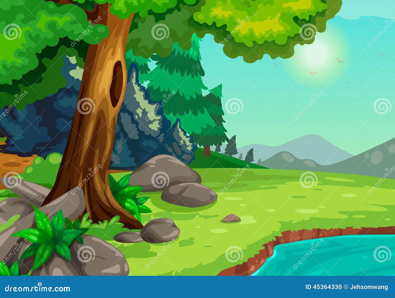 Forêt avec un fond de rivière