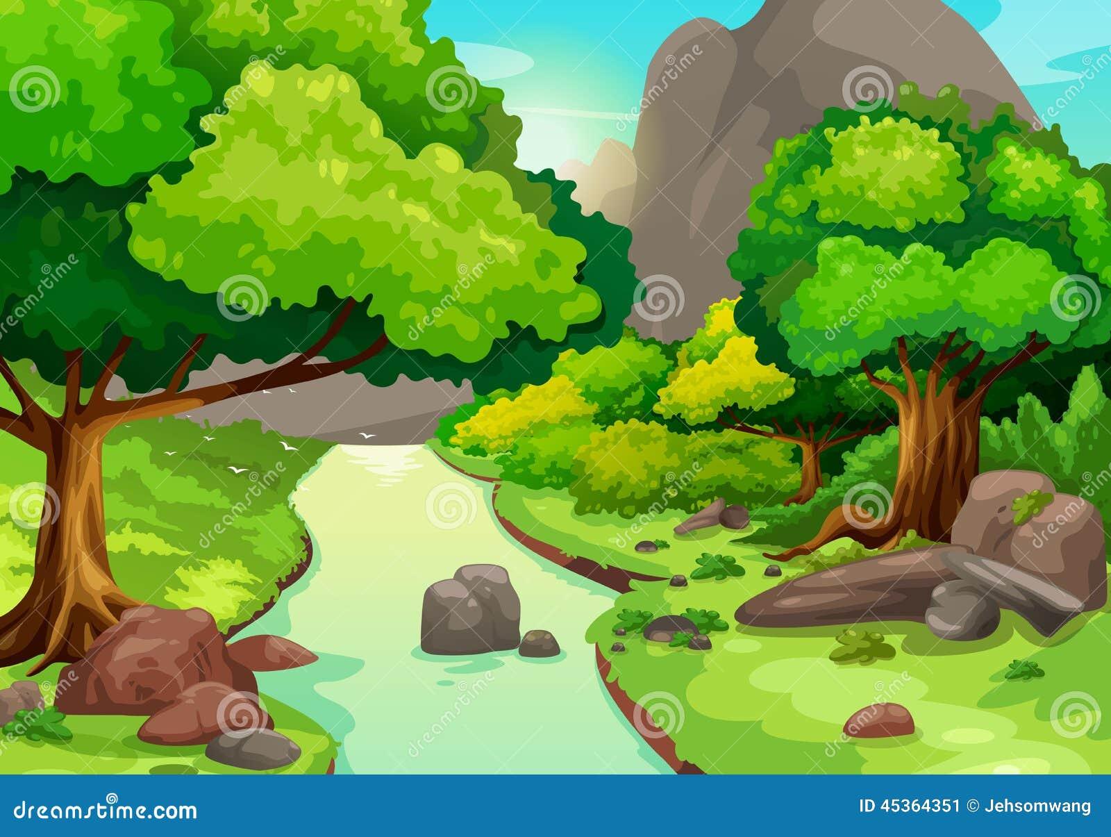 Download Forêt Avec Un Fond De Rivière Illustration de Vecteur - Illustration du nature, océan: 45364351