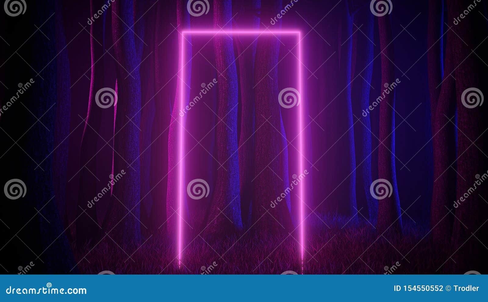 Forêt brumeuse mystique dans la lampe au néon ultra-violette avec les traînées légères portailes Scène foncée et mystérieuse 3d r