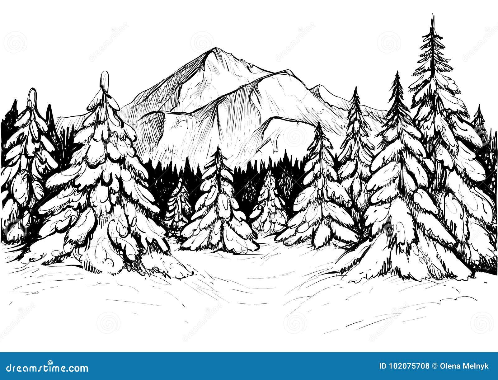 for t d 39 hiver en montagnes croquis illustration tir e par la main de vecteur illustration de. Black Bedroom Furniture Sets. Home Design Ideas