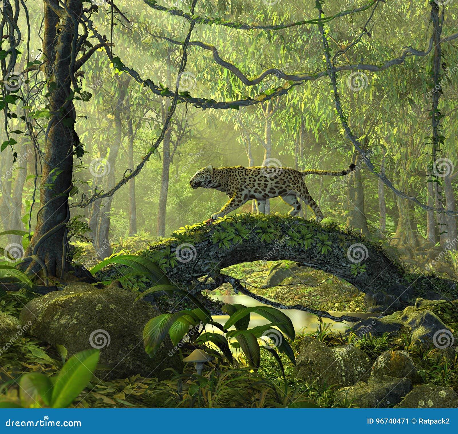 Forêt enchantée de jungle avec un chat de panthère