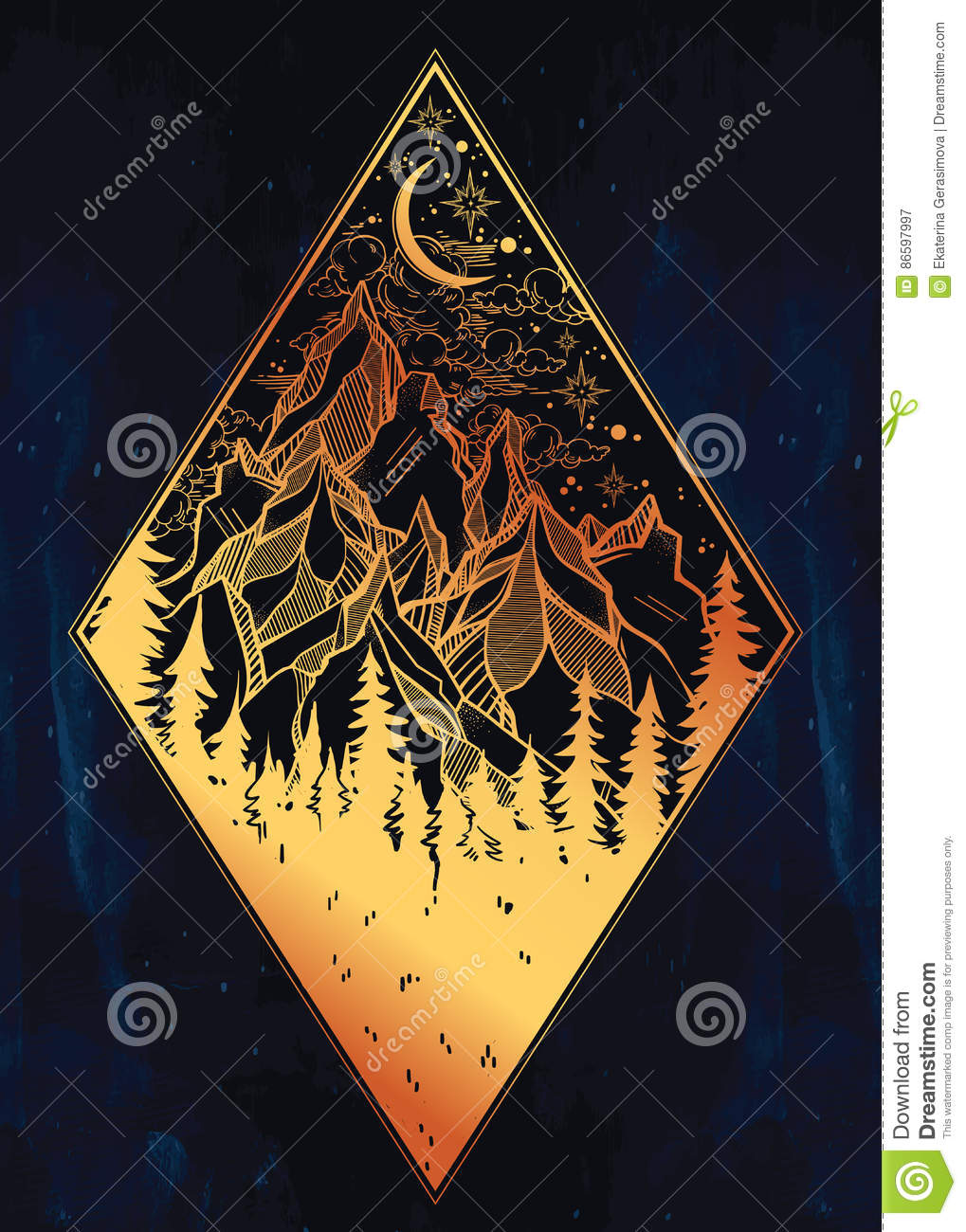 Foret Et Montagnes De Pin De Nature Horizontal De Nuit Illustration