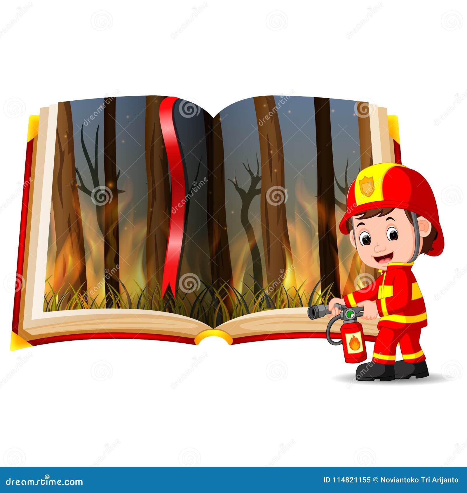 Forêt sur le feu dans le livre et le sapeur-pompier