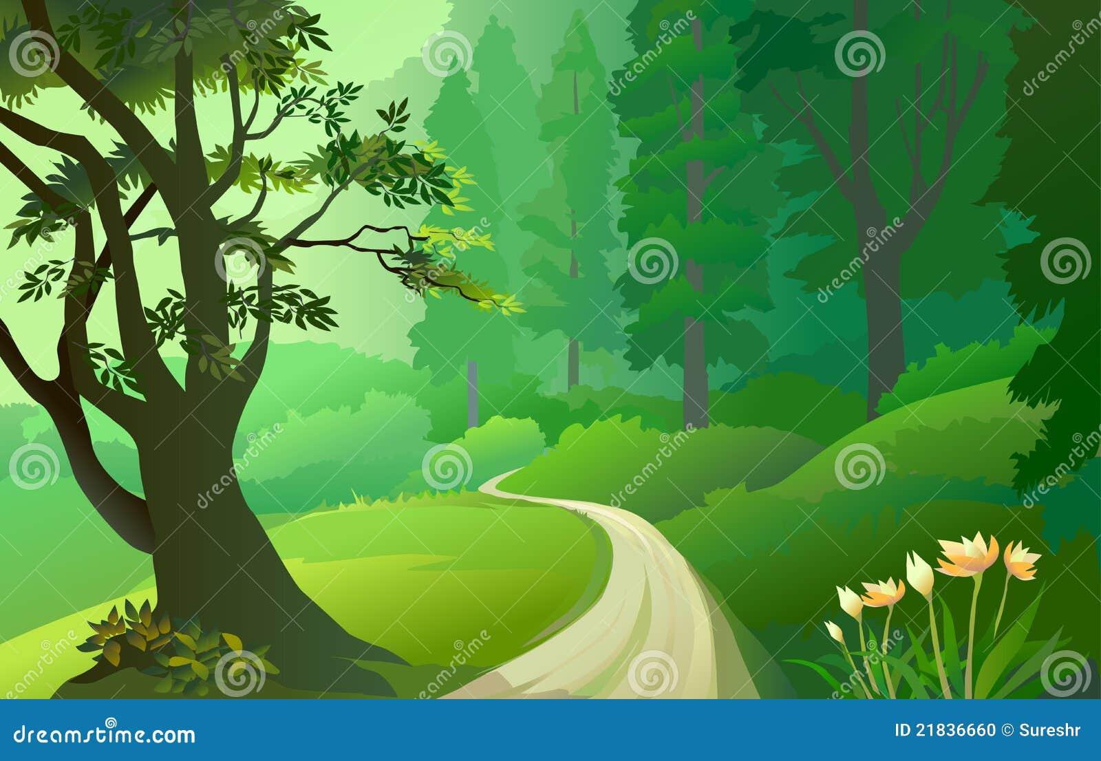 Forêt verte d Amazone avec la voie isolée