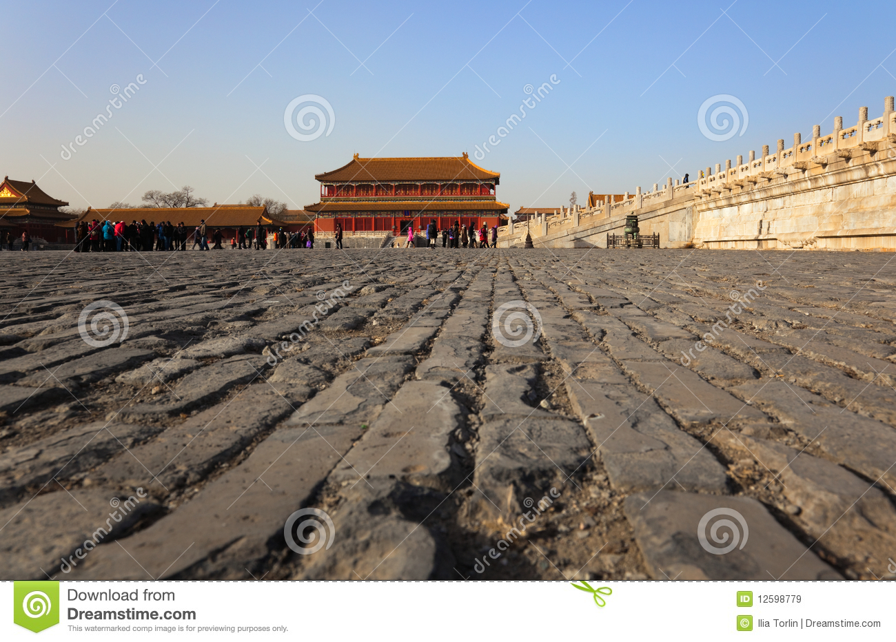 Ancient Bricks Of Courtyard With Hongyi Pavilion And The Marble Terrace Three Great Halls Palace On Background Forbidden City Beijing China