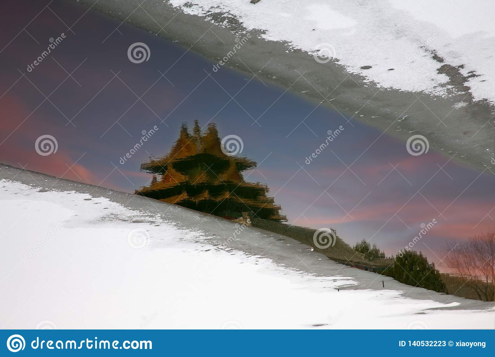 Forbidden City reflection and snows, Beijing