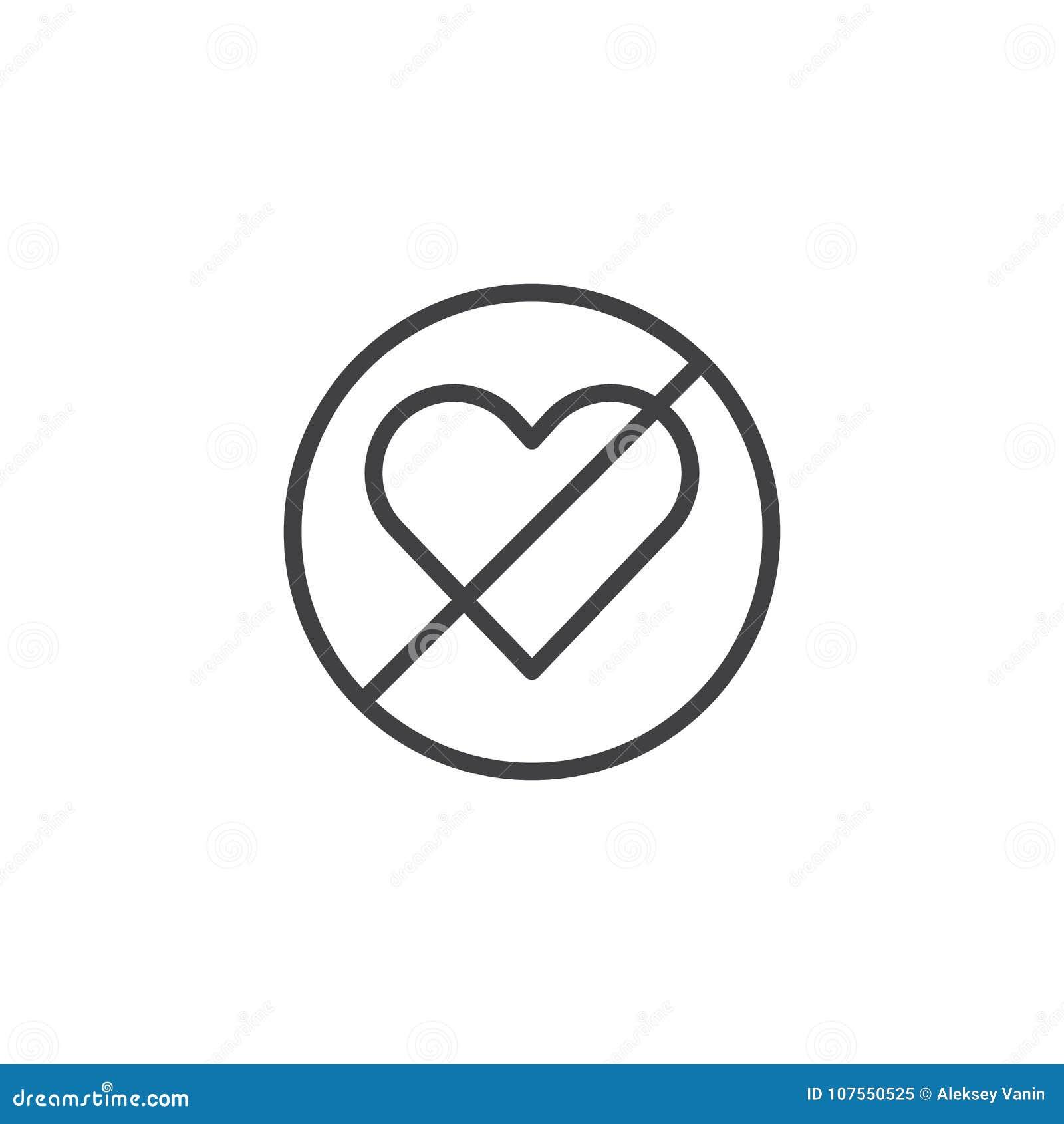 Forbidden Love Line Icon Stock Vector Illustration Of Editable
