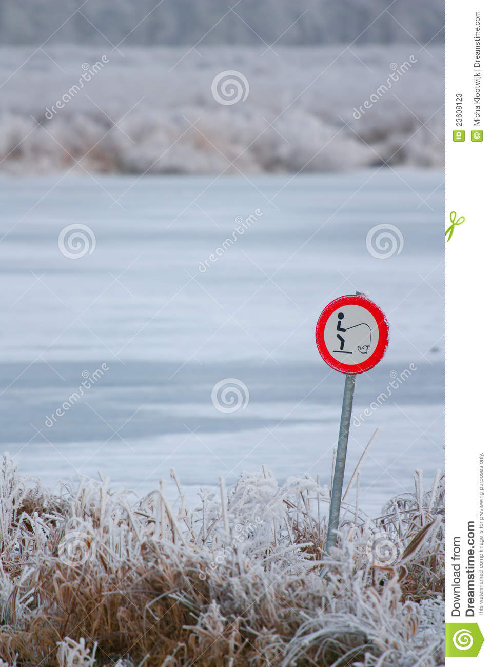 Forbidden to fish in the frozen lake