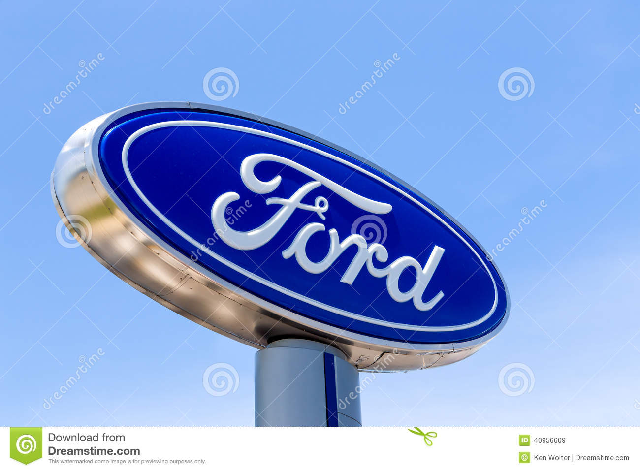 Ford automobile dealership sign editorial stock image for Ford motor company dealerships