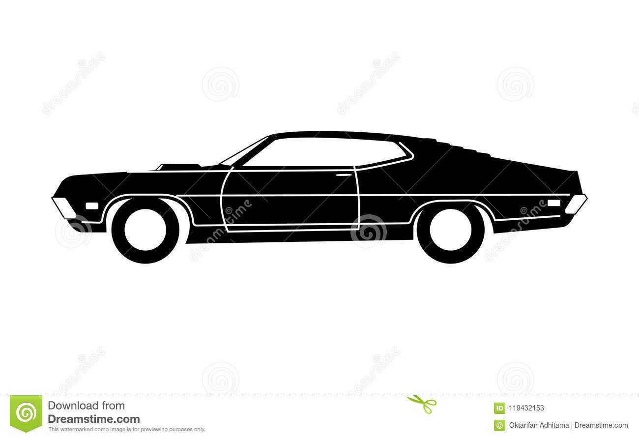 Classic 1970 Car Grayscale Stock Vector Illustration Of Sport