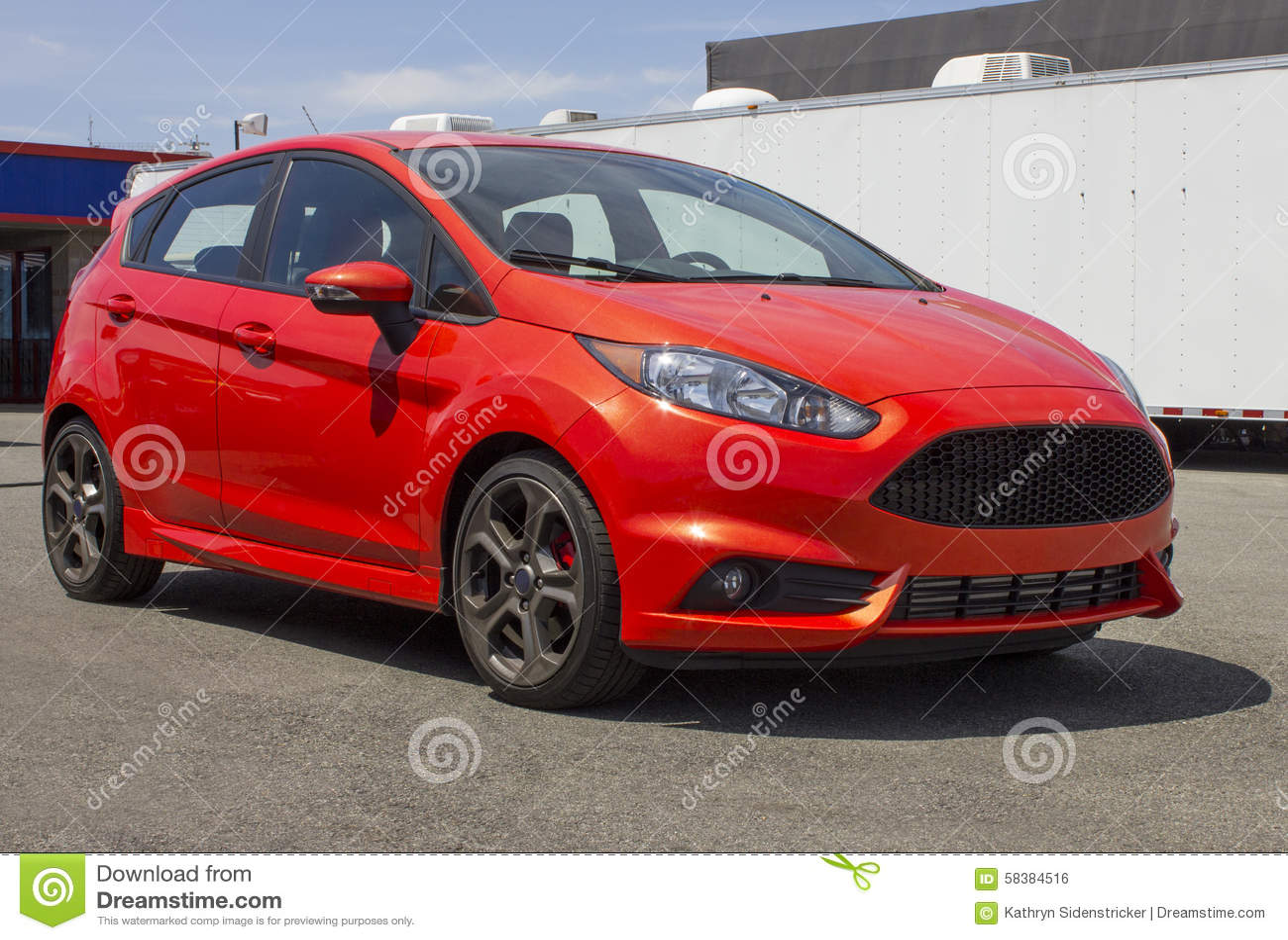 2015 Ford Festiva ST Hatchback Red Stock Photo Image