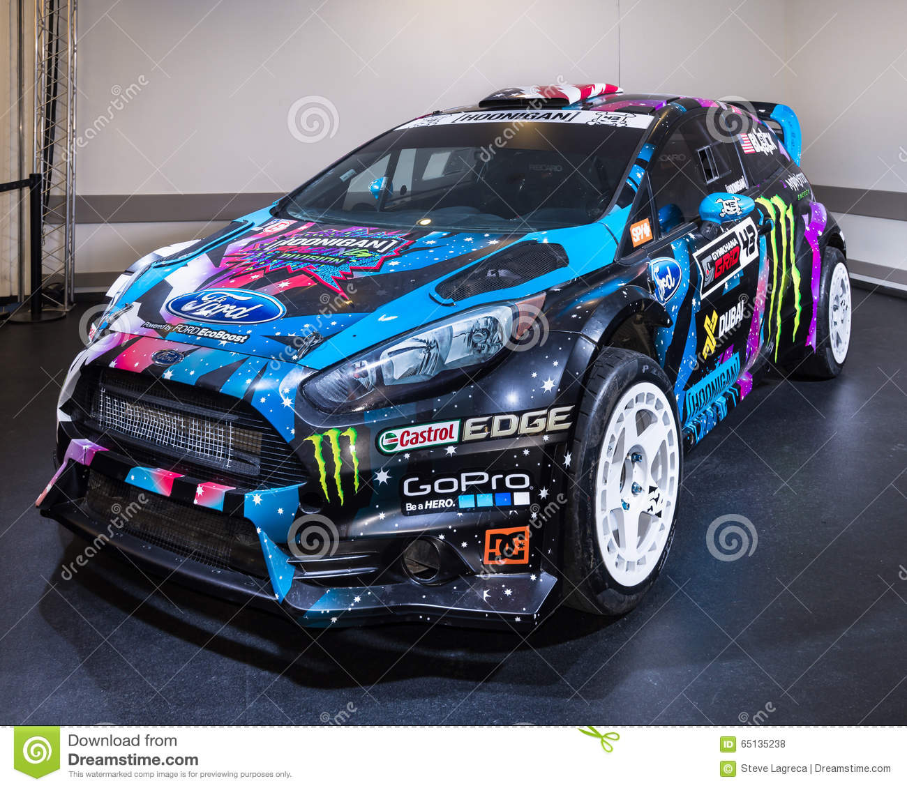 ford fiesta st 2013 rx43 ken block rallycross redaktionelles stockfoto bild 65135238. Black Bedroom Furniture Sets. Home Design Ideas