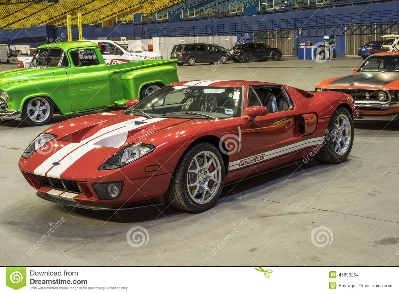 Montreal October  Front Side View Of New Red Ford Gt With White Stripes In Display During The Autorama Event