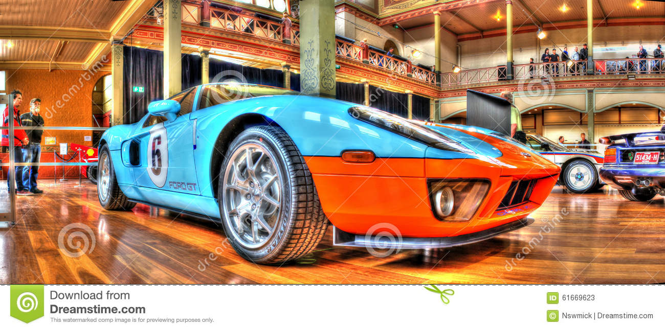 The Ford Gt  Race Car In The Gulf Oil Racing Colours On Display At Car Show In Melbourne Australia The Ford Gt  Won The  Hour Endurance Race At Le