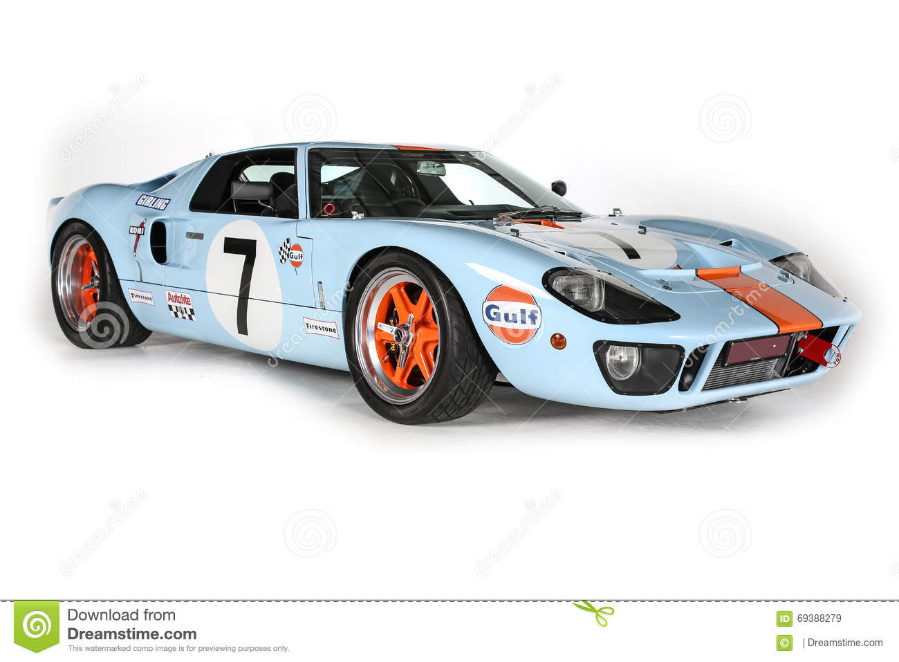 Ford Gt40 Race Car Le Mans Isolated White Background Studio Shot