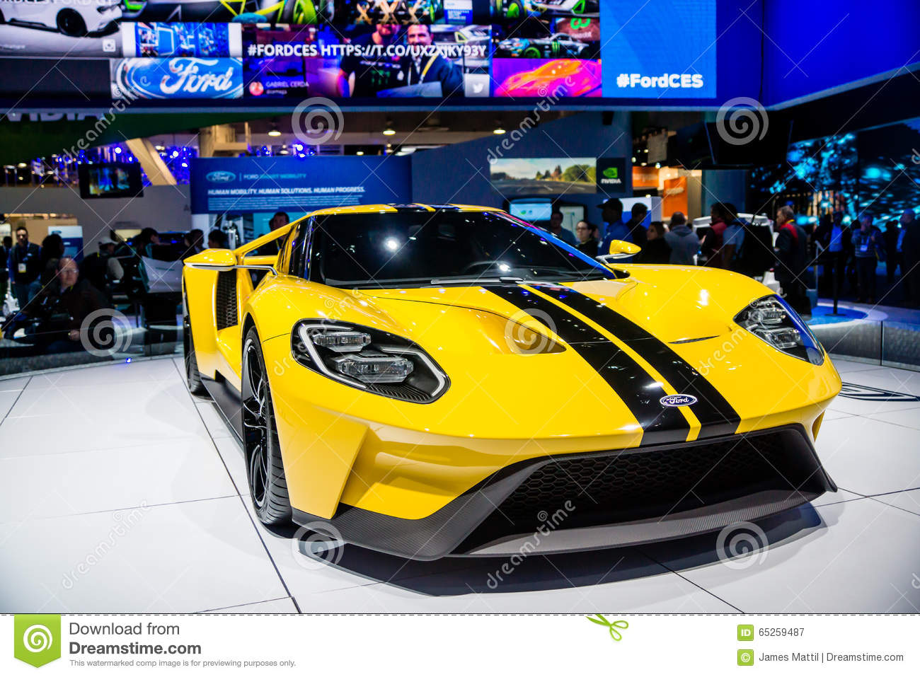 Ford Motor Company Displays The New Gt  Hp Supercar At The   Consumer Electronics Show Ces