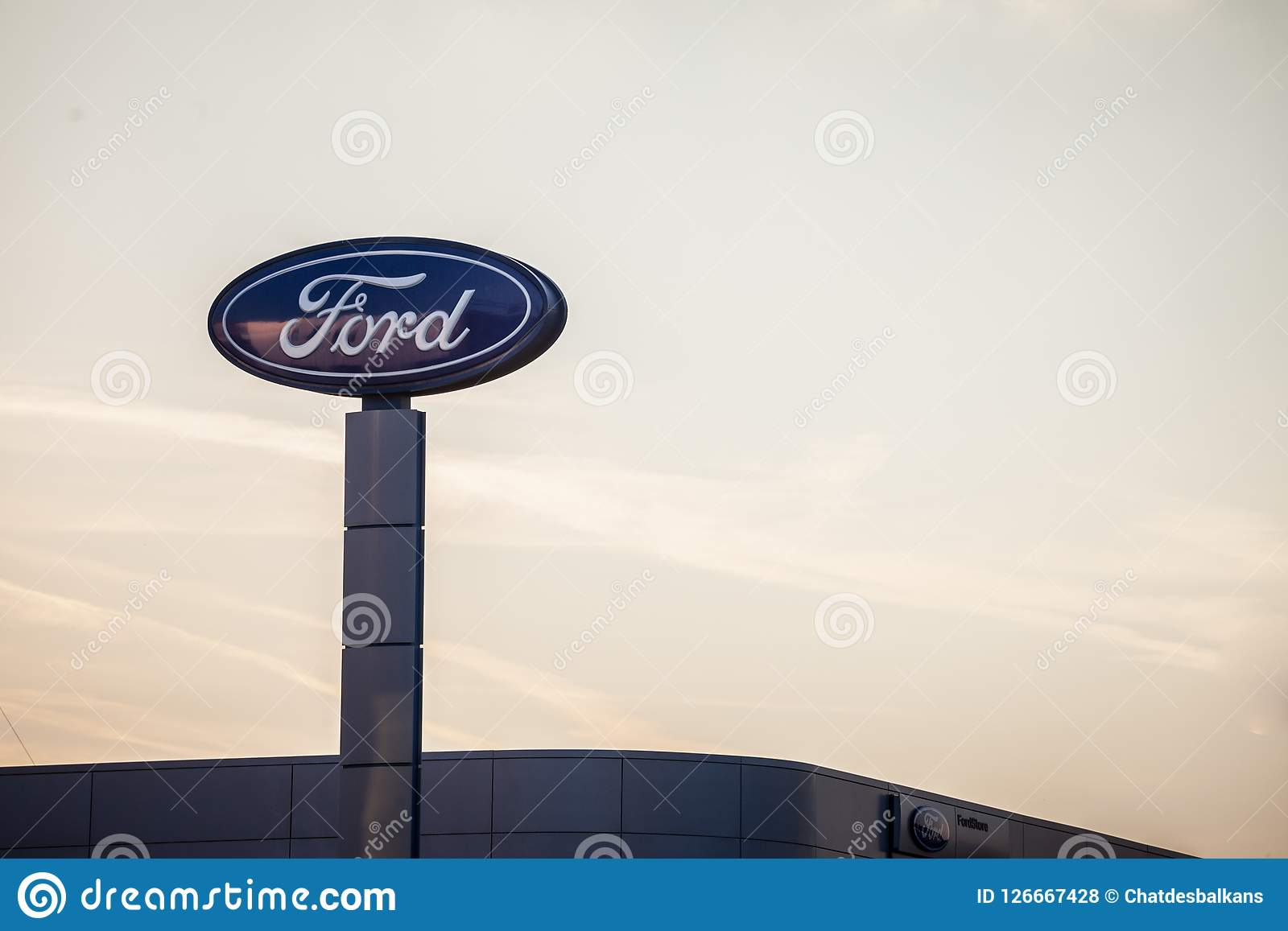 Ford Logo On Their Main Dealership Store Belgrade Ford Is An