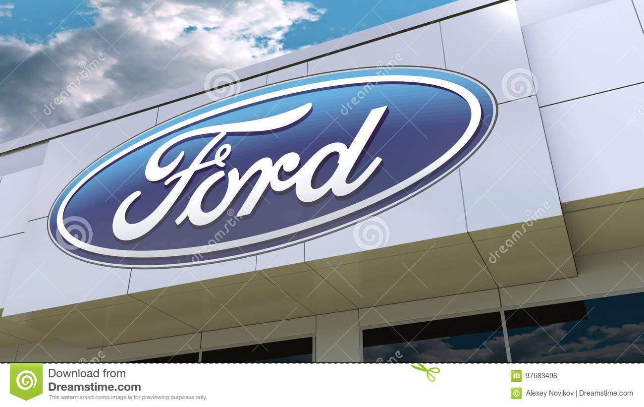 Ford motor company logo on the modern building facade editorial 3d rendering