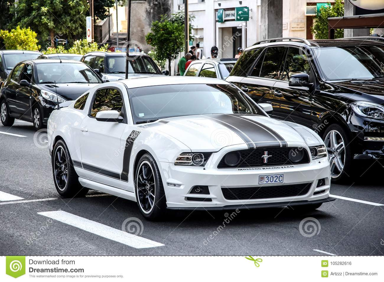2014 Ford Mustang Boss 302s 302 Editorial Photo Image Of Machine 105282616 La Condamine Monaco August 2 White American Sportscar In The City Street