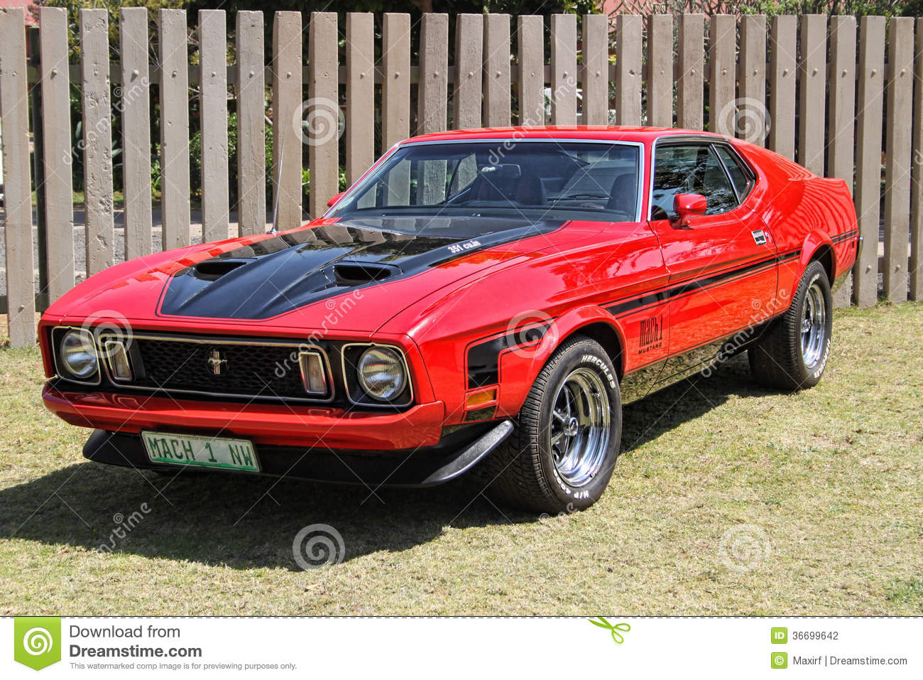 Rustenburg south africa september 9 a bright red ford mustang mach 1 on display at the half centaury celebration of the rusoord old aged home on