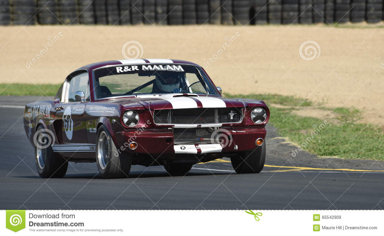 A classic 5 liter mustang from 1965 now a muscle car racer featuring in the annual classic musclecar festival in new zealand
