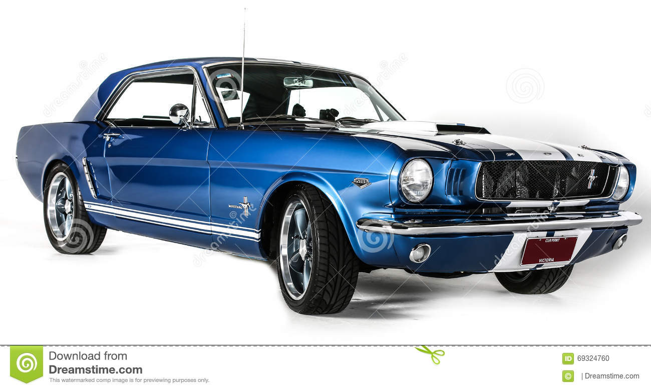A studio photo isolated on white background of a ford mustang 1965 1st generation original classic retro vintage race car